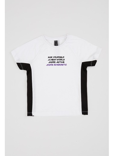 Defacto –Fit Baskılı Bisiklet Yaka Pamuklu Tişört Beyaz